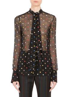 Givenchy Multicolor Dot Fil Coupé Tie-Neck Blouse