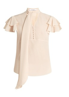 Givenchy Neck-tie short-sleeved silk blouse