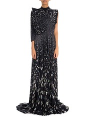Givenchy One-Shoulder Micro Floral Pleated Gown