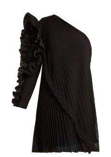 Givenchy One-shoulder pleated silk-georgette dress