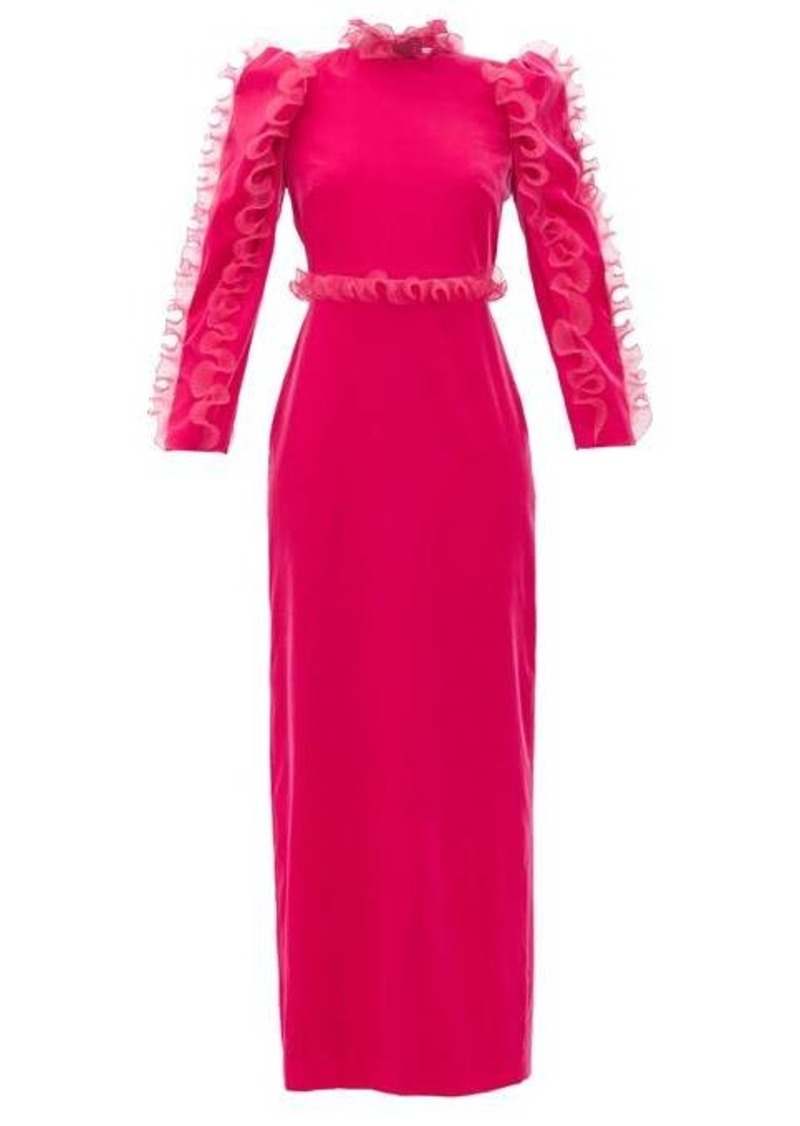 Givenchy Organza-ruffle long-sleeve velvet gown