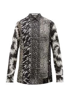 Givenchy Panelled G-print silk-twill shirt