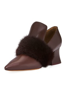 Givenchy Patricia Loafer Pump with Mink-Fur Trim