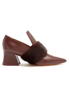 Givenchy Patricia mink-fur point-toe leather loafers