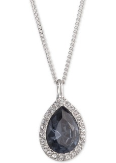 "Givenchy Pave & Stone Pear Pendant Necklace, 16"" + 3"" extender, Created for Macy's"