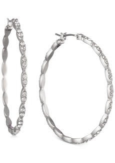 """Givenchy Pave Medium Scalloped Hoop Earrings, 1.41"""""""