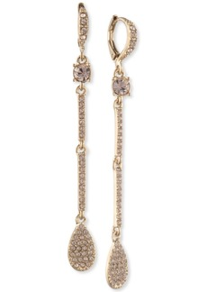 Givenchy Pave Pear-Shape Linear Drop Earrings