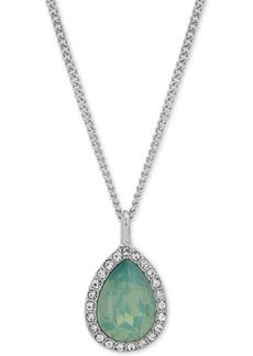 "Givenchy Pave Pear-Shape Pendant Necklace, 16"" + 3"" extender"