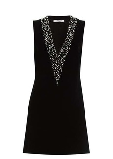 Givenchy Pearl-embroidered velvet mini dress