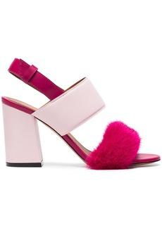 Givenchy Pink Paris 90 Fur Block Heel Sandals - Pink & Purple