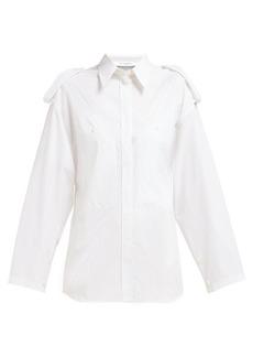 Givenchy Pinstriped shoulder-epaulette cotton shirt