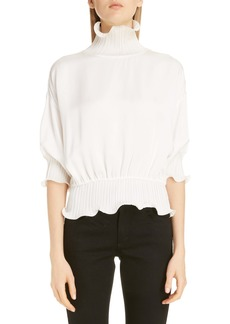 Givenchy Pleat Ruffle High Neck Peplum Blouse