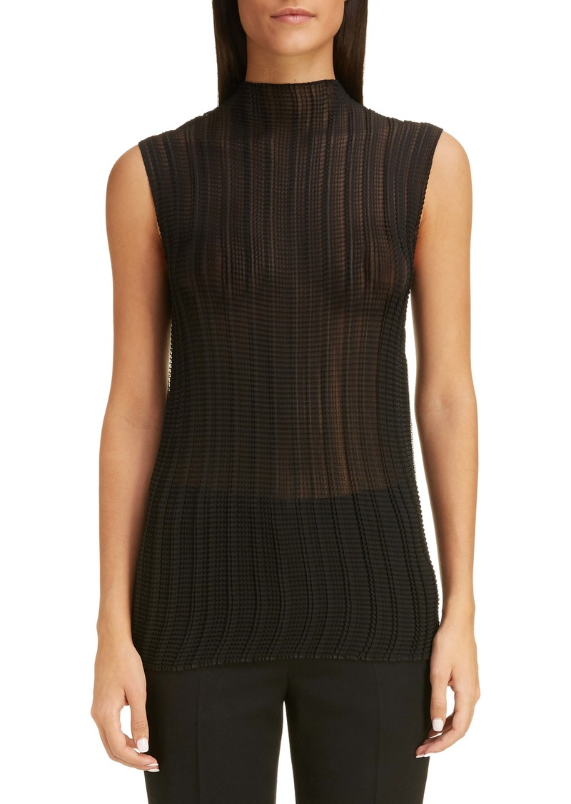 Givenchy Pleated Crinkle Georgette Sleeveless Blouse