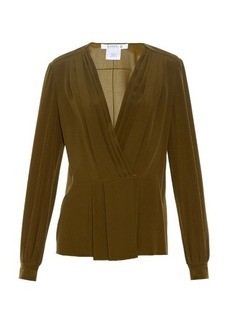 Givenchy Pleated-front silk-crepe blouse