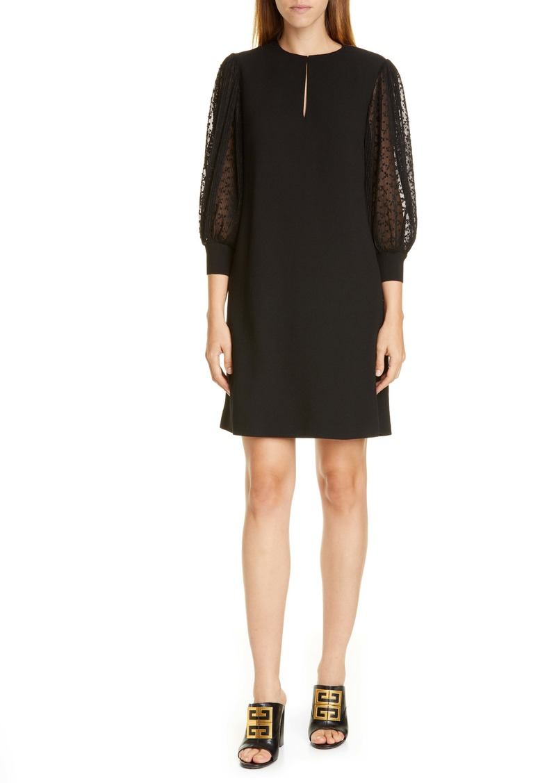 Givenchy Pleated Lace Sleeve Wool A-Line Dress