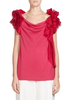 Givenchy Pleated Ruffle-Sleeve Top
