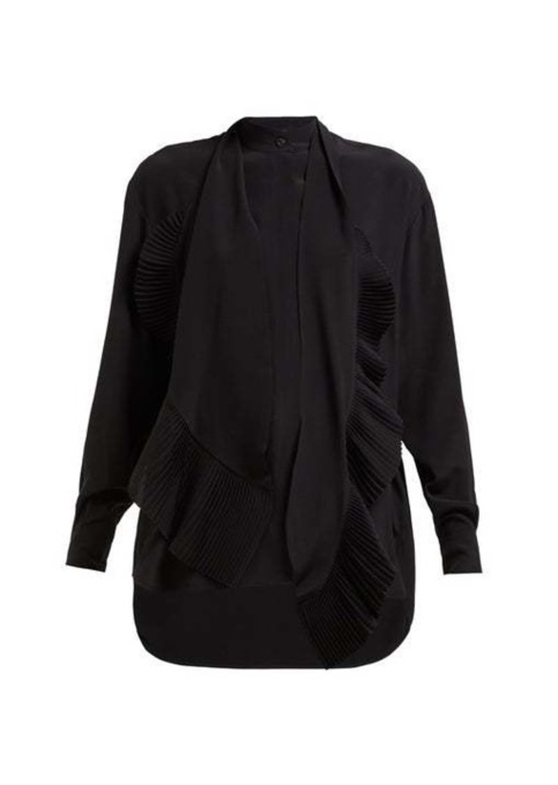Givenchy Plissé pussy-bow silk-chiffon blouse