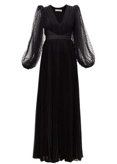 Givenchy Plumetis-tulle balloon-sleeve plissé silk gown