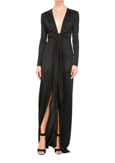 Givenchy Plunging Tie-Waist Shiny Jersey Long Evening Gown