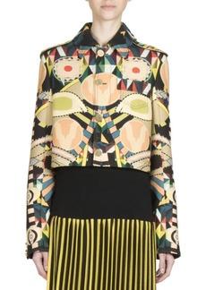 Givenchy Printed Crop Wool Jacket