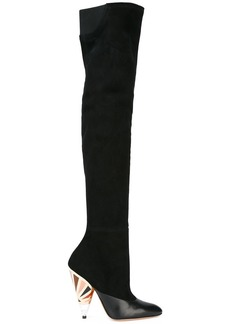 Givenchy printed heel over-the-knee boots - Black