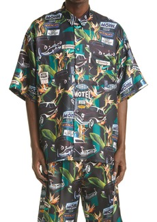 Givenchy Relaxed Fit Motel Cars Print Button-Up Silk Shirt