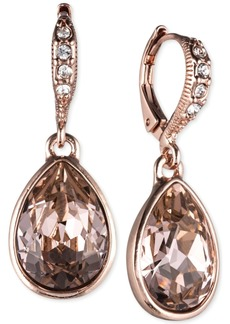 Givenchy Rose Gold-Tone Crystal Drop Earrings