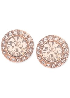 Givenchy Rose Gold-Tone Pave Button Stud Earrings