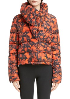Givenchy Rose Print Down Crop Puffer Coat