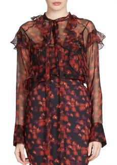 Givenchy Ruffle Detail Silk Chiffon Blouse