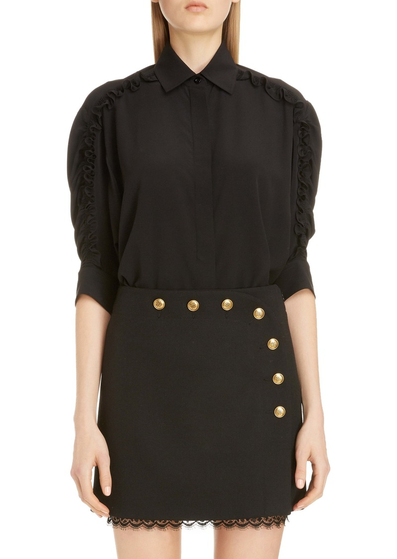 Givenchy Ruffle Sleeve Silk Shirt
