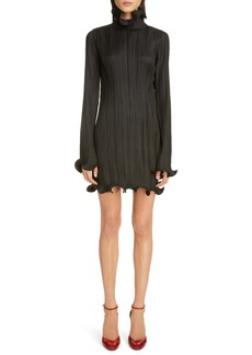Givenchy Ruffle Trim Long Sleeve Plissé Minidress
