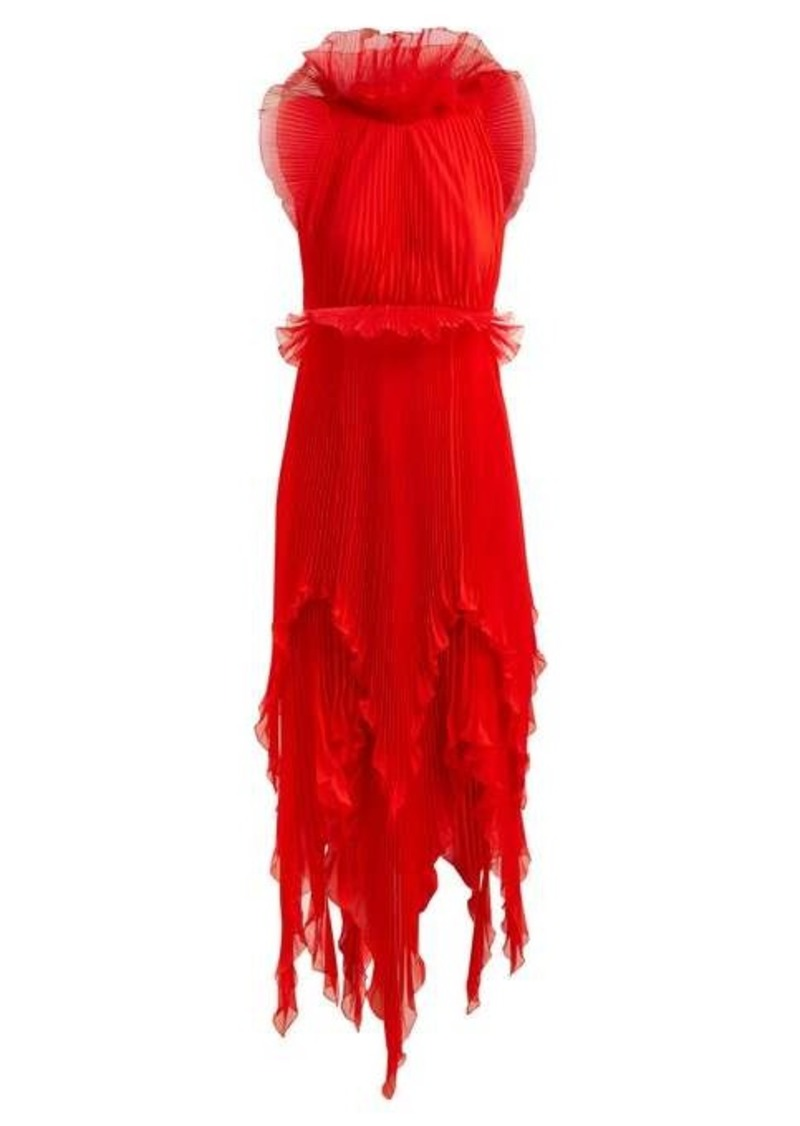 Givenchy Ruffle-trimmed pleated-silk dress