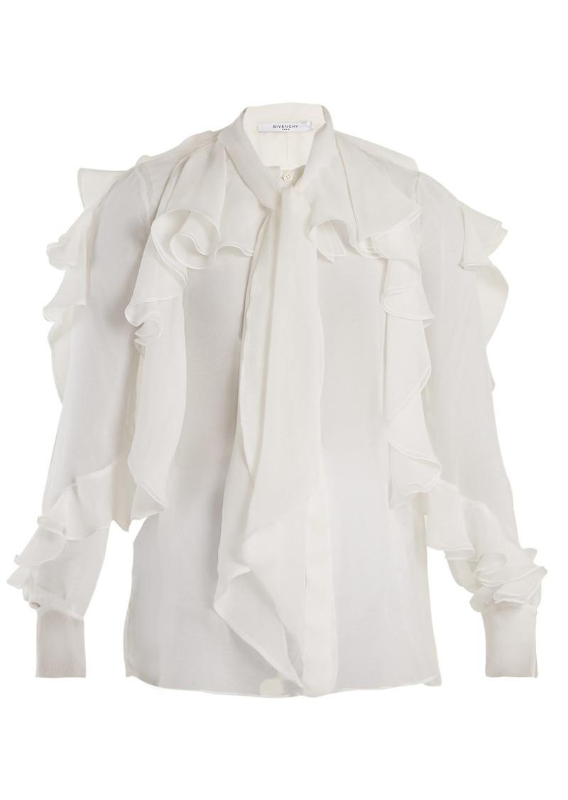 4644ac92de5 Givenchy Givenchy Ruffle-trimmed silk-chiffon blouse