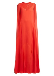 Givenchy Sequinned cape-sleeve wool-crepe gown