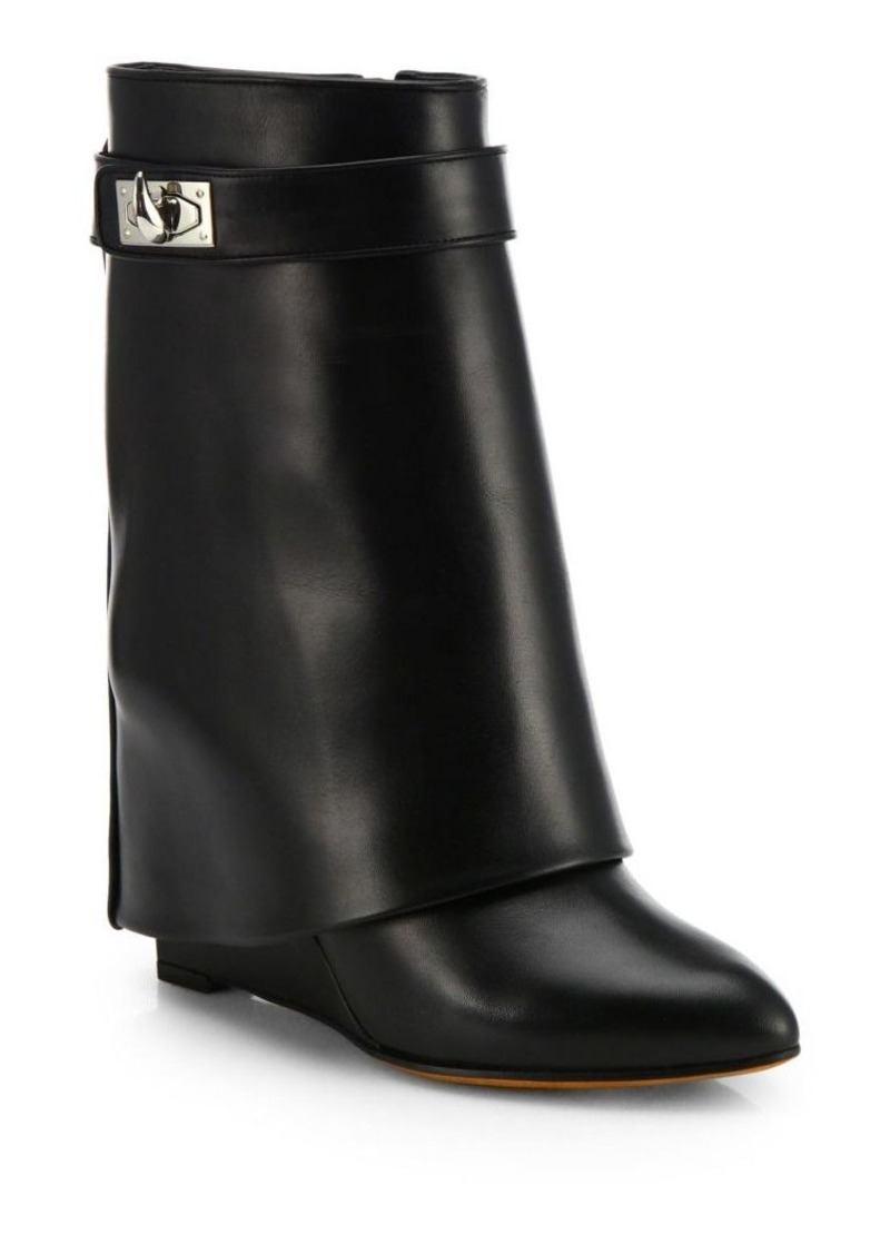 0b5530f737b1 Givenchy Shark Lock Leather Pants Mid-Calf Wedge Boots   Shoes