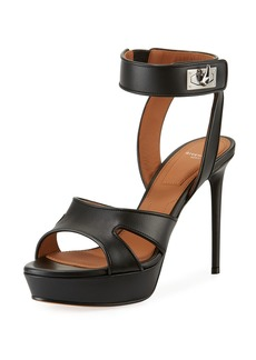Givenchy Shark-Lock Leather Platform Sandal
