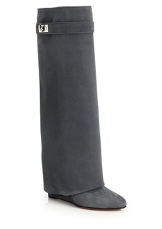 Givenchy Shark Lock Pant Leg Fold-Over Knee-High Suede Wedge Boots
