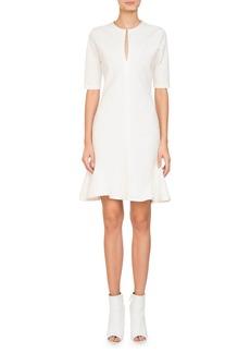Givenchy Short-Sleeve Split-Neck Dress