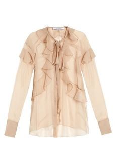 Givenchy Silk-chiffon ruffled neck-tie blouse