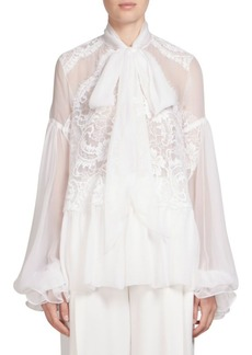 Givenchy Silk Tie Neck Blouse