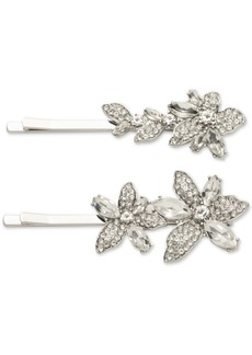 Givenchy Silver-Tone 2-Pc. Set Crystal Flower Bobby Pins