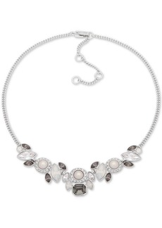 """Givenchy Silver-Tone Crystal & Imitation Pearl Collar Necklace, 16"""" + 3"""" extender"""