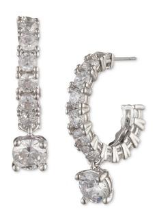 Givenchy Silver-Tone Crystal Charm Hoop Earrings