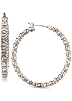 Givenchy Silver-Tone Inside-Out Crystal Medium Hoop Earrings