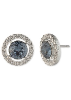 Givenchy Silver-Tone Stone & Crystal Halo Stud Earrings