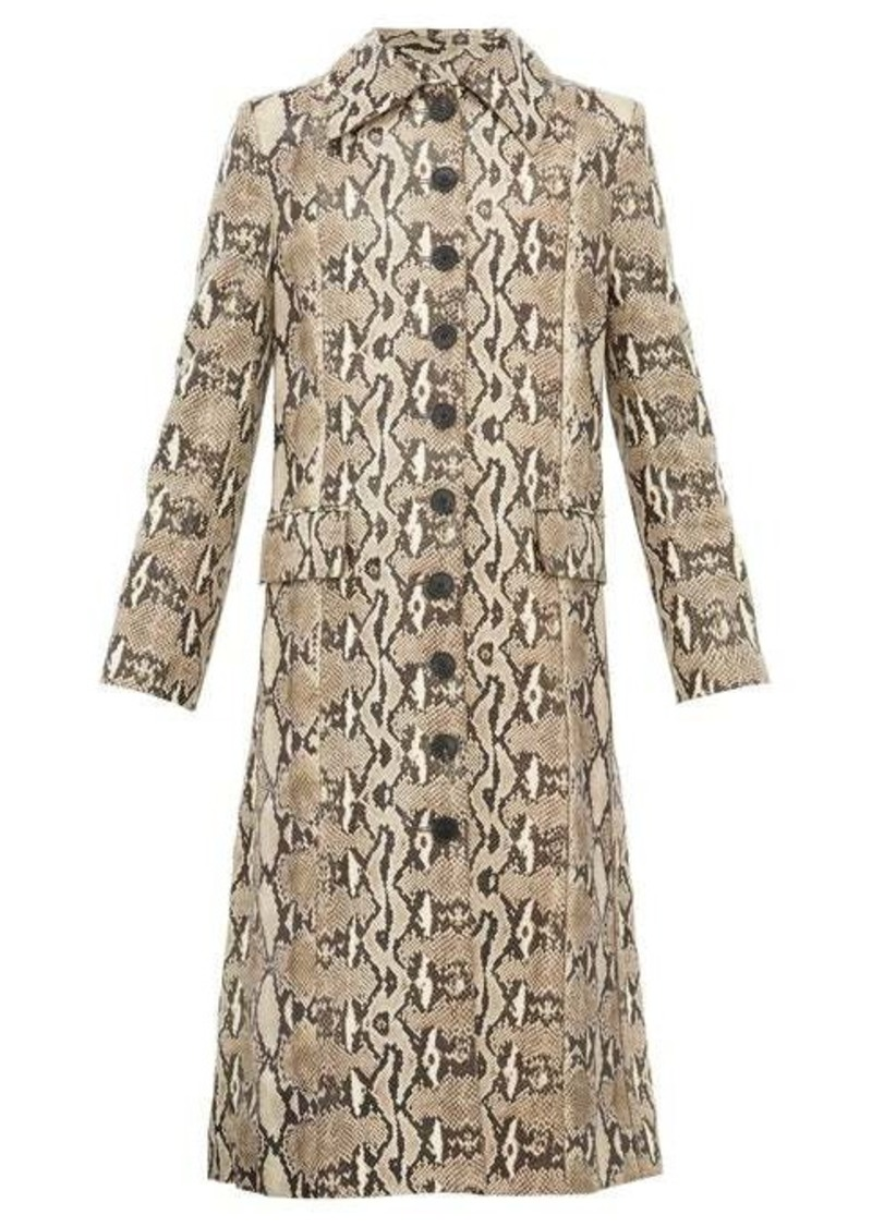 Givenchy Single-breasted python-effect leather coat