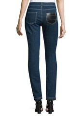 Givenchy Skinny Ankle Jeans W/Leather Front