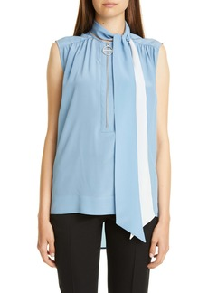 Givenchy Sleeveless Silk Blouse with Removable Scarf
