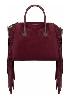Givenchy Small Antigona Fringe Embellished Suede Satchel